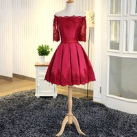 Wholesale Inexpensive Sexy Prom Dresses - Inexpensive Short Prom Dress Off the Shoulder Lace Appliques Illusion Short Sleeves Corset Lace up Back Homecoming Gradution Party Gowns