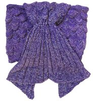 Wholesale thread crochet pattern - Mermaid Tail Blanket Knit Crochet Mermaid Blanket for Adult All Seasons Seatail Sleeping Bag Blanket Scaly Pattern quot x37 quot Purple