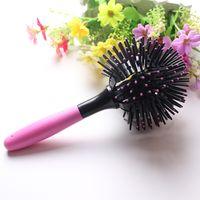 escova redonda aquecida venda por atacado-3D rodada escovas de cabelo pente salão de maquiagem 360 graus ferramentas de estilo de bola magia escova de cabelo detangling resistente ao calor pente de cabelo