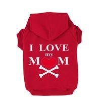 amo la ropa de mamá al por mayor-Venta caliente lindo I LOVE MY MOM Heart Bone Impreso Fleece Hoodie Coat Invierno sudadera Pet Puppy Dog ropa ropa