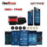 android obd2 adapter venda por atacado-Carro OT100 OBD2 Scanner + Sistema de Alarme de Pressão Dos Pneus com 4 TPMS Sensor OBD TPMS 2in 1 para android e IOS Adaptador Bluetooth