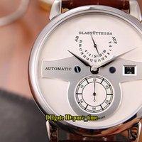 qualität weiße eule großhandel-4 Stil New Zeitwerk Owl Date Weißes Zifferblatt Glashutte 140.025 Automatische Herrenuhr 316L Stahlgehäuse Lederband Hochwertige Uhren