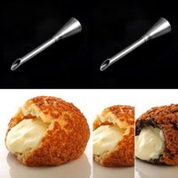 Wholesale Ice Mold Pipe - 2PCS Piping Bag Nozzles Set Stainless Steel Cupcake Cake Decorating Tips For Puffs Cream Pastry Horn Mold Icing Piping Nozzles