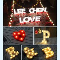 Wholesale wedding sign supplies - Vintage Large LED Desk String Marquee Romantic Letters Alphabet Symbol Lights Sign Xmas Wedding Party Decoration