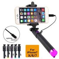 штатив оптовых-Для Iphone X 8 7 Selfie Stick Para Palo Selfie монопод для iphone X 8 7 6 plus 5 5s проводной фотография штатив выдвижная Selfie