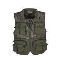 сетка фотографии жилет оптовых- Vest Men Colete Masculino Mesh Multi-Pockets Zipper Loose Waistcoat Men Photography Vest With Many Pockets L-4XL