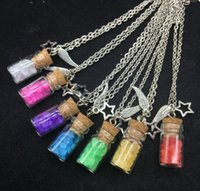 Wholesale Vial Diy - 1sets lot Cork Stopper sea Sand Glass wishing Bottles Vials Jars handmade diy jewelry stars wings necklace Container diy pendant