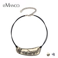 Wholesale Deer Choker - eManco 2 Color Classic Simple Cameo Layers Choker Necklaces & Pendants Women Black Rope Deer Pattern Metal Gold-Color Jewelry