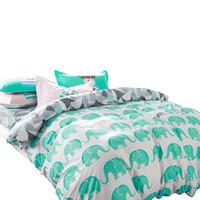 ropa de cama de elefante reina al por mayor-Svetanya Elephant juegos de cama 100% algodón 4 unids Ropa de cama Doble Doble Queen funda de edredón + hoja plana + funda de almohada