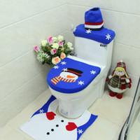 Wholesale radiators covers for sale - Group buy New Design Christmas Rug Santa Toilet Seat Cover Foot Pad Radiator Cap Non slip Bath Mat Bathroom Set Christmas Decoration