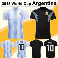 Wholesale Polyester Short Sleeve Shirts - 2018 World Cup Argentina MESSI Soccer Jerseys DI MARIA DYBALA AGUERO Home Away Football Shirts National Team HIGUAIN Men Short Sleeve Jersey