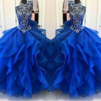 красивые женщины одеваются синий оптовых-Красивые слои оборками королевский синий Quinceanera платья 2018 бисером кристаллы бальное платье женщины конкурс платья сладкий 15 Vestidos де 15 Анос