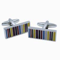 Wholesale mens cufflinks gold - Rainbow Striped Rectangle Cufflinks Luxury Enamel & Silver Mens Cuff links Colorful Striped Mens Cuff Buttons Cufflinks French Cuff Link