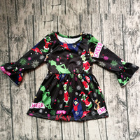 Wholesale snowflake clothing for sale - Xmas Baby girls Flare Sleeve dress Children Christmas snowflake print princess dresses Autumn fashion Boutique Kids Clothing C5362