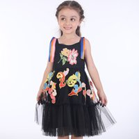 Wholesale embroidered clothes for girls online - Girl Summer Princess Dress Embroidered Flowers Black Lace Dress for Kids Fashion Clothing Brand Baby Girl Clothing