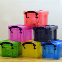 Wholesale portable jewelry storage case - Mini Transparent Plastic Jewelry Storage Case Portable Multi Function Organization Box Candy Color High Quality 1 5rh V