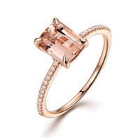 anel de ouro 2pcs venda por atacado-2 Pcs Anel / Set Rose Gold Preenchido de Cristal Branco Zircon Wedding Engagement Ring Tamanho 6-10