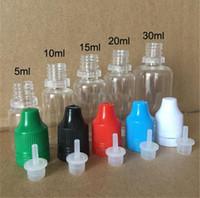 ingrosso dropper per liquido-500pcs E liquido bottiglia contagocce in PET con protezioni colorate a prova di bambino punte sottili sottili chiaro plastica ago flacone 5ml 10ml 15ml 20ml 30ml 50ml