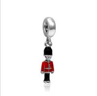 Wholesale British Holidays - Red Black Enamel British Royal Guard Charms Beads Drop Pendant Jewelry Sets Sold Wholesale Dangle Charms for European Fit Pandora Bracelets