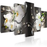 zeitgenössische wandbilder großhandel-Amosi Art White Orchid Blumen Zeitgenössische Leinwand Print Art Vivid Floral Diamant Malerei Bild Wall Decor HD Fashion Artwork gerahmt
