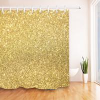 zubehör für bad großhandel-72 '' Badezimmer wasserdichtes Gewebe Duschvorhang Polyester 12 Haken Badzubehör-Sets Gold Glitter Fokus funkelt im unteren Drittel