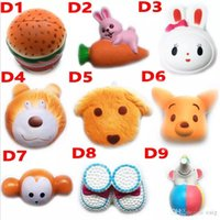 Wholesale Dog Squeeze Toys - Squishy Toy hamburger rabbit dog bear squishies Slow Rising 10cm 11cm 12cm 15cm Soft Squeeze Cute Strap gift Stress children toys