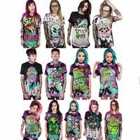 ingrosso punk più donne di abbigliamento di formato-New Cool Skull T-Shirt stampata da donna Punk Rock Plus Size O-Neck Lovers Abiti Hip Hop Manica corta Top stile europeo Tee