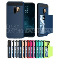 Wholesale Pocket Pc Wallet - Hybrid Armor Card Slide Case Card Slot Wallet PC&TPU Back Cover For Iphone 6 7 8 X Plus Samsung S8 S9 Plus Cases