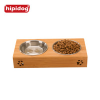 Wholesale Bowl Feeders Stainless - Hipidog Bamboo Stainless Steel Dog Feeder Bowls Two Type Pet Food Water Drink Water Dry Food Dishes Feeder For Cat Puppy Dog