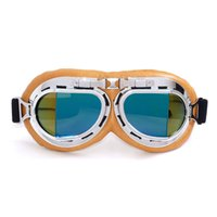 Wholesale leather motorcycle goggles - Goggles Eyewear Aviator Pilot Cruiser Scooter Clear Elastic Belt Silver Yellow Leather Anti UV Outdoor Motorcycle Glasses 19cg V
