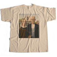 ingrosso belle arti americane-Maglietta gotica americana Grant Wood - AN Old Skool Hooligans Fine Art Tee