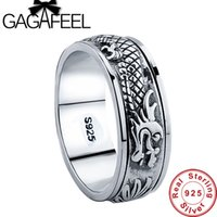 Wholesale Sterling Dragon Ring - Wholesale- Gagafeel New 100% Real Pure 925 Sterling Silver Dragon Rotatable ring Thai Silver Fine Jewelry free shipping LHYR17