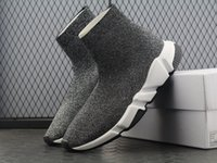 Wholesale white toe socks for men - HOT NEW Speed sock shoes high quality Trainer shoes for men and women sneakers Speed stretch-knit Mid sneakers size Eur 36-45