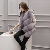 Wholesale White Women Fur Vest Faux - Autumn And Winter Fashion Faux Fur Vest Fox Fur Large Size Coat Slim Stitching Wool Vest Women's Jacket Vest Wholesale Special S-3XL
