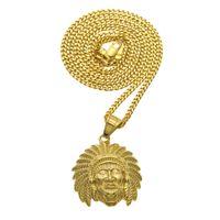 Wholesale indian tribal pendant - WEC Hip-hop Punk Style Necklace Shop Accessories Retro Indian Tribal Chieftain Head Pendant for Men Jewelry