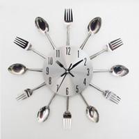nouvelles horloges modernes achat en gros de-Horloge Murale Cuillère Fourchette Couteau Mécanisme Design Décor À La Maison Art Couverts de Table Horloges Moderne Cuisine Salon Nouvelle Arrivée 21hr V