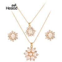 ingrosso gioielli imitazione nuziale-Hesiod Women Wedding Statement Necklace Earrings Bridal African Beads Party Jewellery Imitazione di perle Accessori di fidanzamento