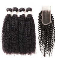 Wholesale kinky curly hair 4pcs closure resale online - Ishow New Arrival A Peruvian Kinky Curly Bundles with Lace Closure With Baby Hair Cheap Brazilian Hair Weave