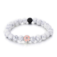 дружба браслеты цветок оптовых-Trendy White Black Color Simple Strand Bracelets For Women Cute Pink Enamel Flower Beaded Bracelet Friendship Gifts Hot Sale