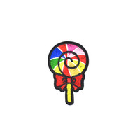 Wholesale Lollipops Costumes - 10PCS Diy Colorful Lollipops Patches Ironing on Stripe Stitch Embroidered Clothing Patch for Sewing Fabrics Patches for Costume Accessories