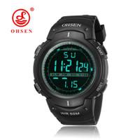часы ohsen для дайвинга оптовых-2016 Новый OHSEN цифровой LED мужская мода часы 50 м дайвинг черный Спорт на открытом воздухе плавание силиконовый ремешок наручные часы Relogio Masculino