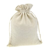 rústico navidad al por mayor-Bolsas de regalo hechas a mano de la envoltura del algodón de la muselina para el regalo de la boda de la bolsa de la joyería del grano de café Favores rústicas de la Navidad