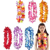 Wholesale yellow grass skirts resale online - wedding Party decoration hawaiian Flowers necklace wreaths Grass skirts accessories necklace artifical flowers colorful drop shipping