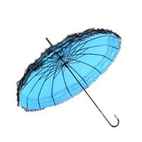 eski dantel şemsiyeleri toptan satış-Kadınlar Uzun Saplı Renkli Şemsiye Güneşli Ve Yağmur Gün Pagoda Dantel Şemsiye Fit Hediyeler Vintage Çin Tarzı 23 5xn ff