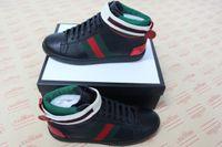melhores tênis de cano alto venda por atacado-NOVA moda verde tarja vermelha Ace high-top sapatilha melhor qualidade designer de sapatos homem mulheres de luxo sapatilha para venda tamanho 34-46