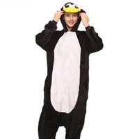 desenho de pinguim preto venda por atacado-Mulheres Adulto Pinguim Onesie Animal Engraçado Dos Desenhos Animados Pijama Macacão de Festa de Inverno Preto Quente Sleepwear Moda Bonito Macacão terno