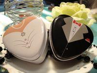 коробка из оловянной конфеты в форме сердечка оптовых-Свадьба конфеты оловянная коробка форма сердца невесты жених Монетный Двор олова свадьба пользу коробка