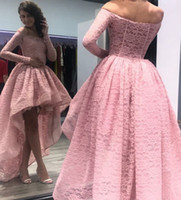 allık yüksek düşük balo elbisesi toptan satış-Allık Pembe Yüksek Düşük Dantel Kokteyl Parti Elbiseler Kapalı Omuz Uzun Kollu Abiye giyim Fermuar Geri Ruffles Ucuz Balo Elbise 2018