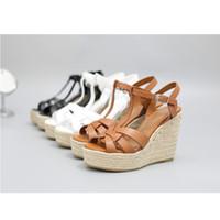 Más nuevo Plataforma de cuero negro Sandalia zapatos verano mujeres T correa parte inferior gruesa zapatos de tacón alto zapatos sandalias Mujer