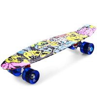 tablas de skate completos al por mayor-CL - 85 Impresión Graffiti Estilo Skateboard Completa 22 pulgadas Retro Cruiser Longboard Freestyle Impresión Long Skate Board Colorido